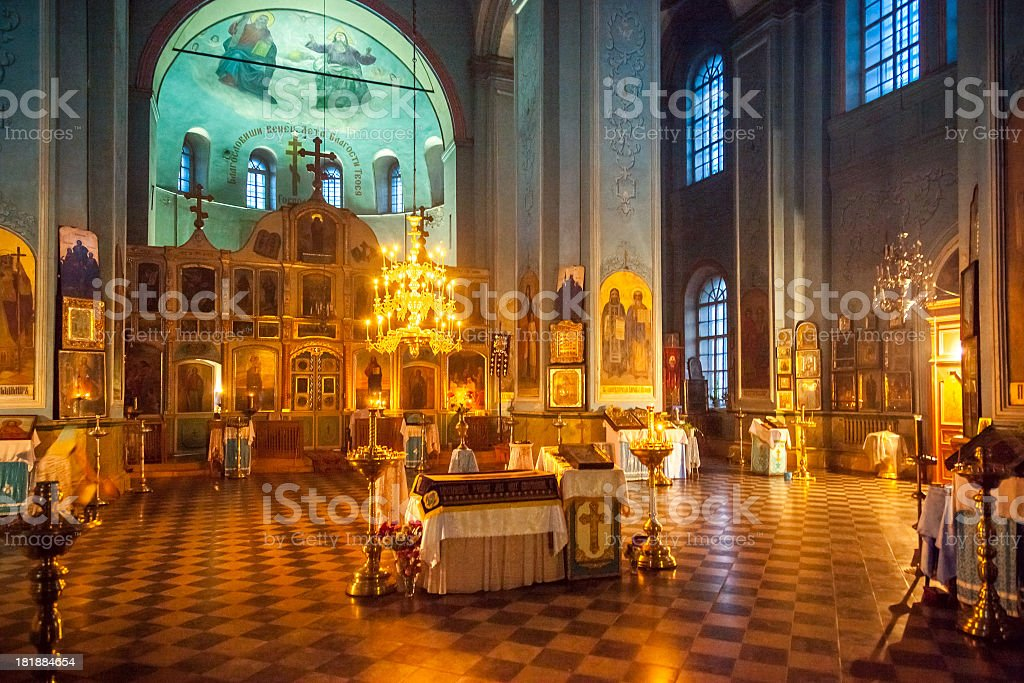 Orthodox church indoors stock photo