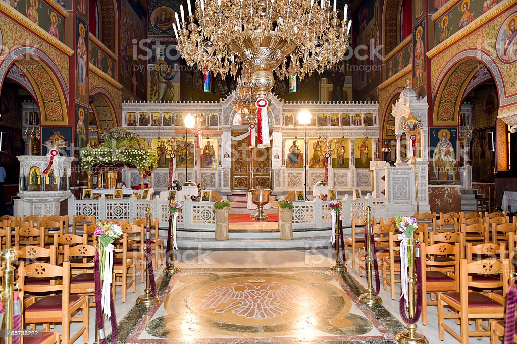Orthodox church interior stock photo