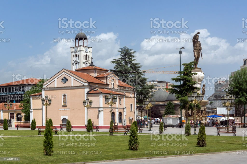 Orthodox Church of Church St. Demetrius and Philip II of Macedon Monument in Skopje, Republic of Macedonia stock photo