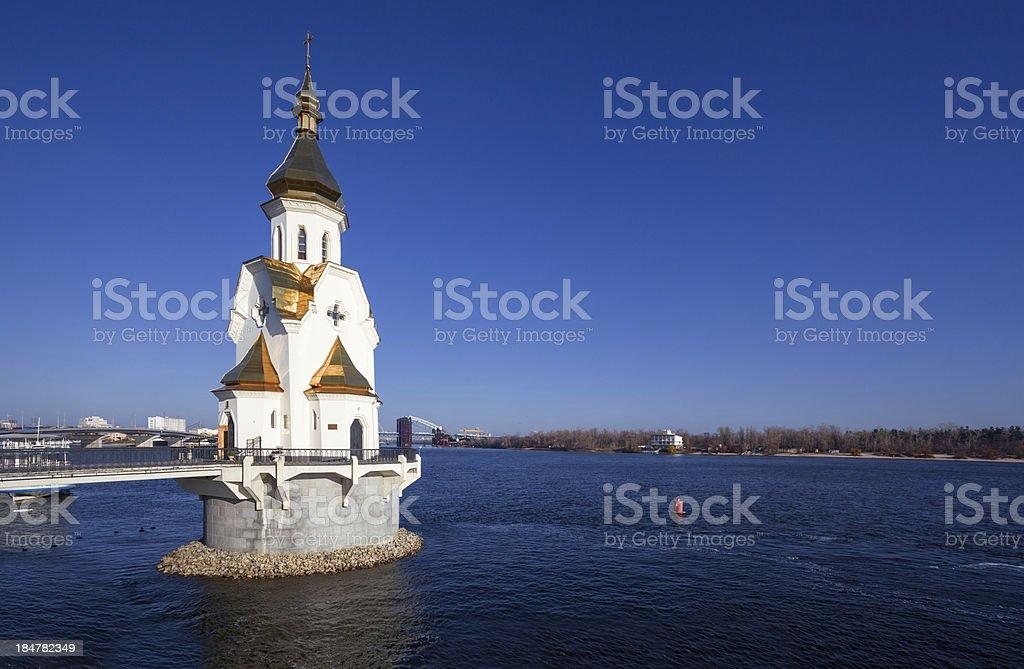 orthodox church on Dnepr river in Kiev. Ukraine. stock photo