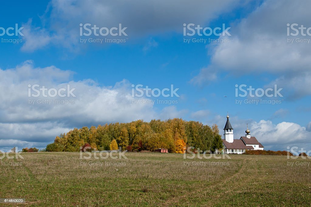 Orthodox Church on the hill stock photo