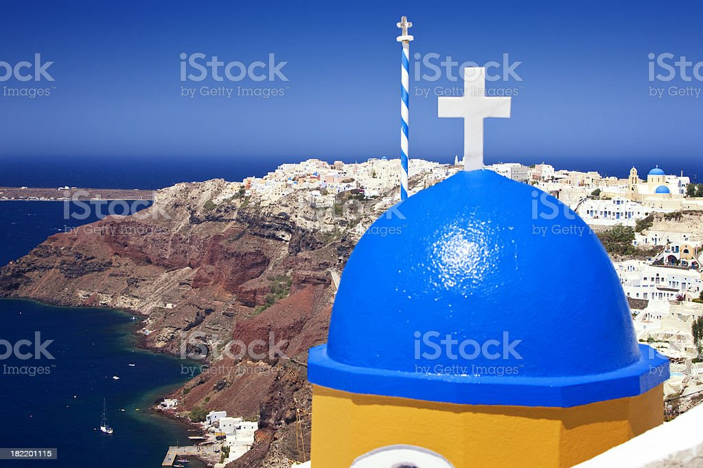 Orthodox church with blue dome on Santorini royalty-free stock photo