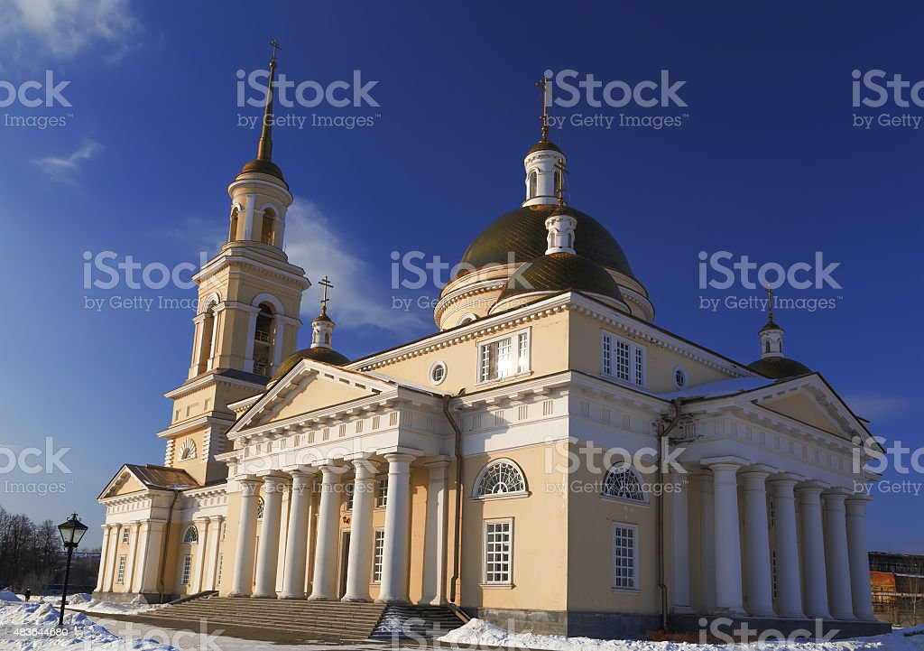 Orthodox church with golden domes in  winter Russia, Ural stock photo