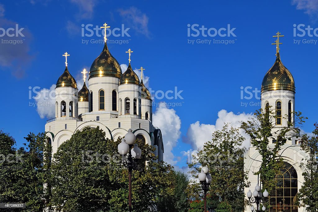 Orthodox churches in Victory square. Kaliningrad, Russia stock photo