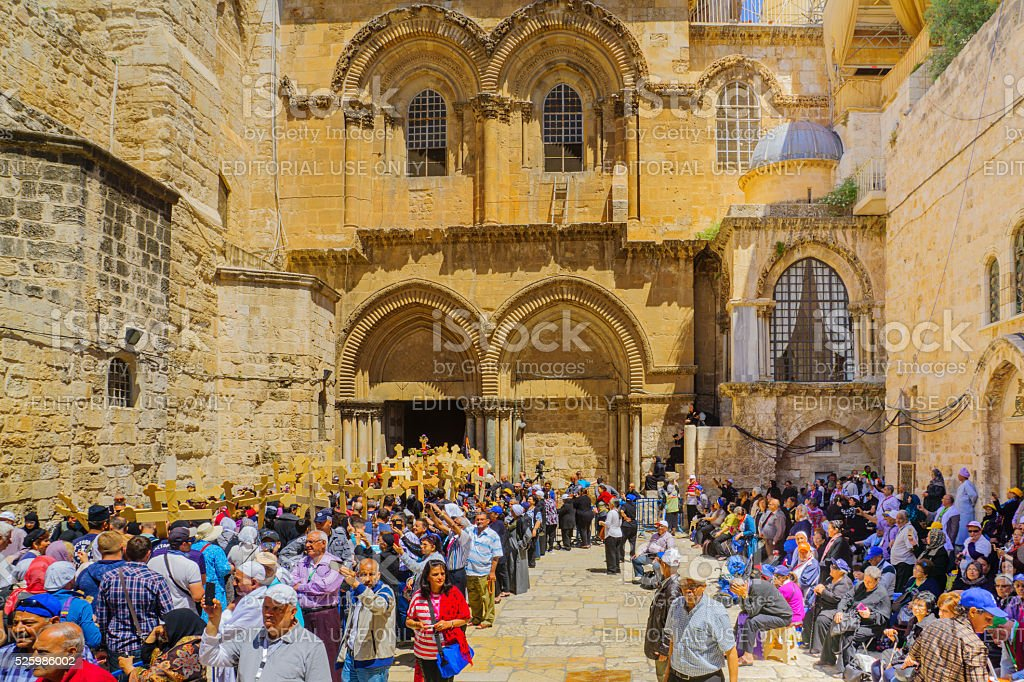 Orthodox Good Friday 2016 in Jerusalem stock photo