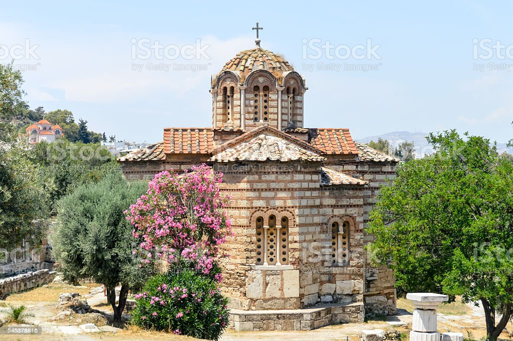 Orthodox Greek church in the Ancient Agora - Athens, Greece stock photo