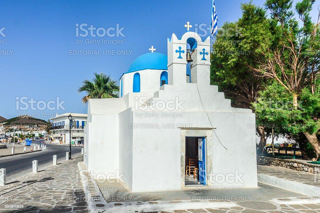 Orthodox Greek church in the Greek Islands stock photo