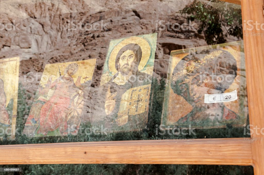 Orthodox icons for sale at St. Catherine's Monastery stock photo