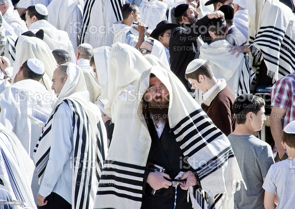 Orthodox Jew with Mobile Phone at Wailing Wall, Jerusalem stock photo