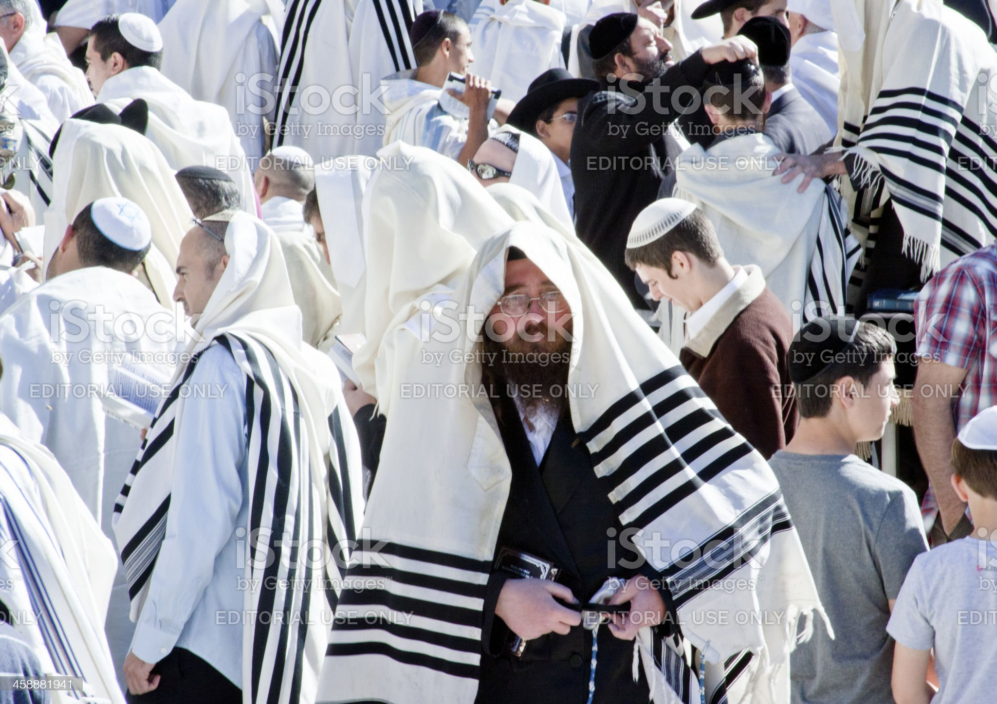 Orthodox Jew with Mobile Phone at Wailing Wall, Jerusalem royalty-free stock photo