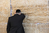 Orthodox Jewish Man at the Western Wall in Jerusalem. Israel