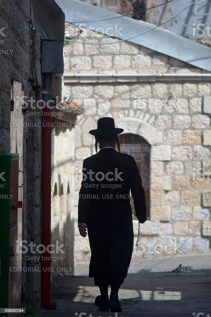 Orthodox Jewish man in Jerusalem Israel stock photo