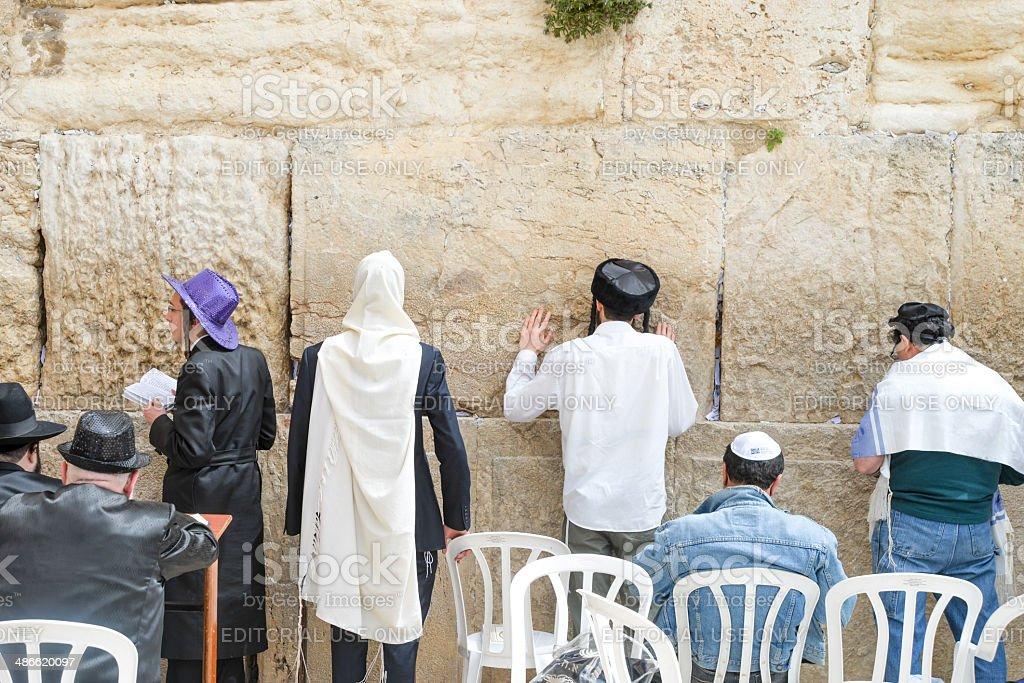 Orthodox Jews at the Western Wall stock photo