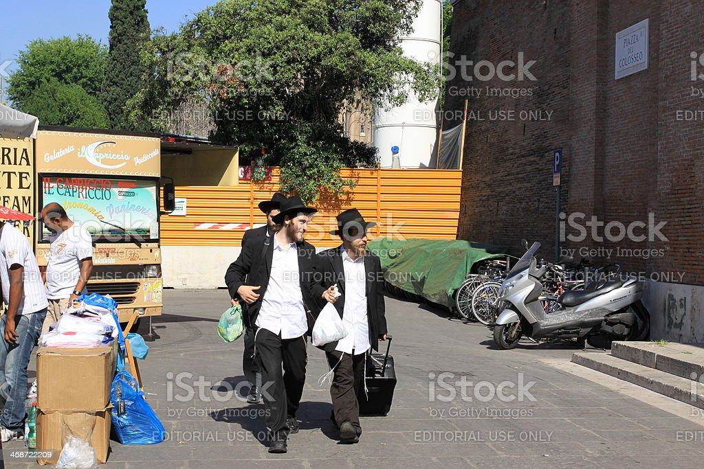 Orthodox Jews in Rome royalty-free stock photo