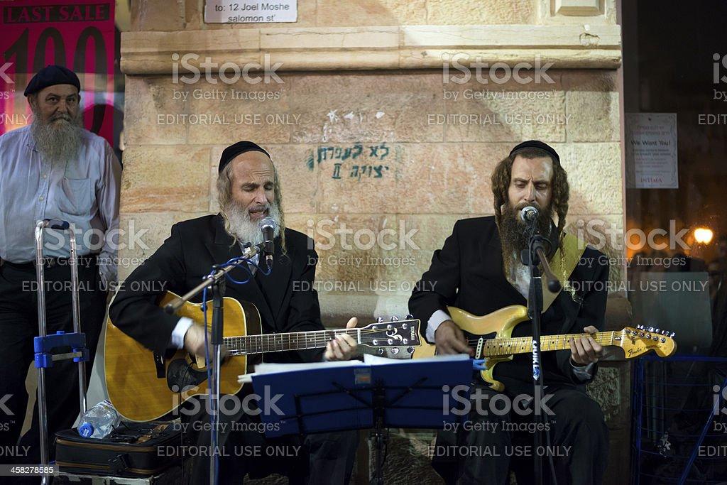 Orthodox Jews playing secular tunes in Jerusalem stock photo