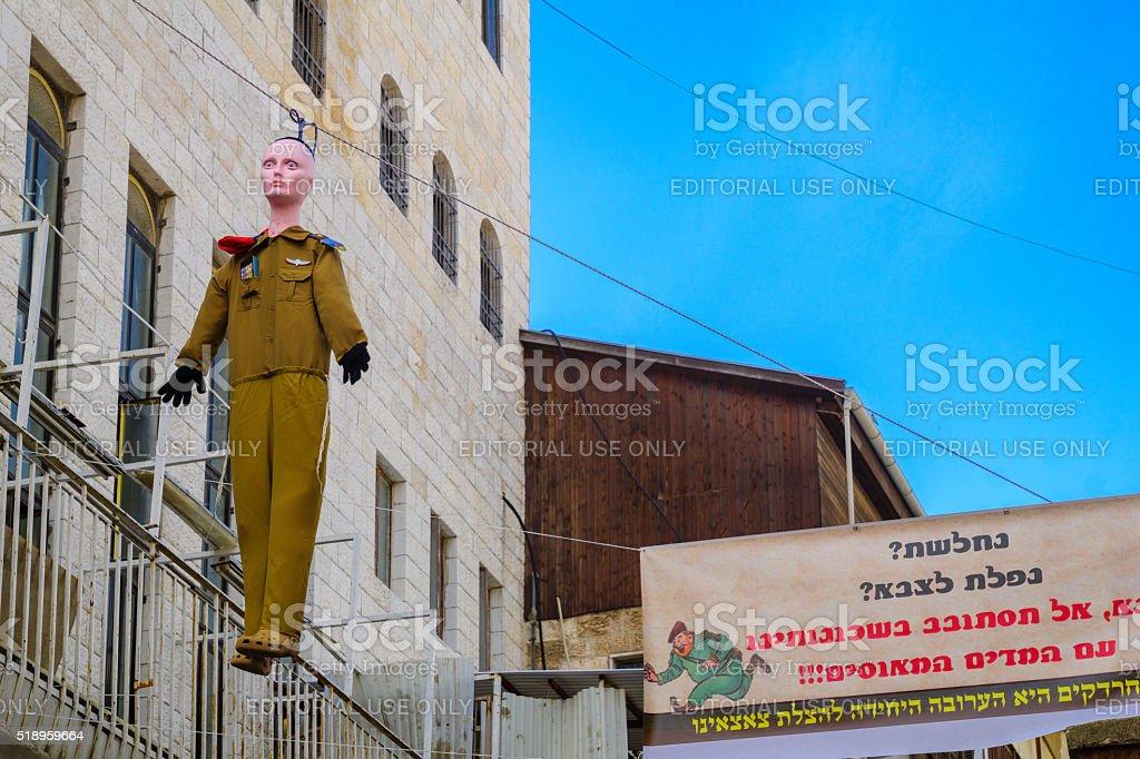 Orthodox Jews protest , Jerusalem stock photo