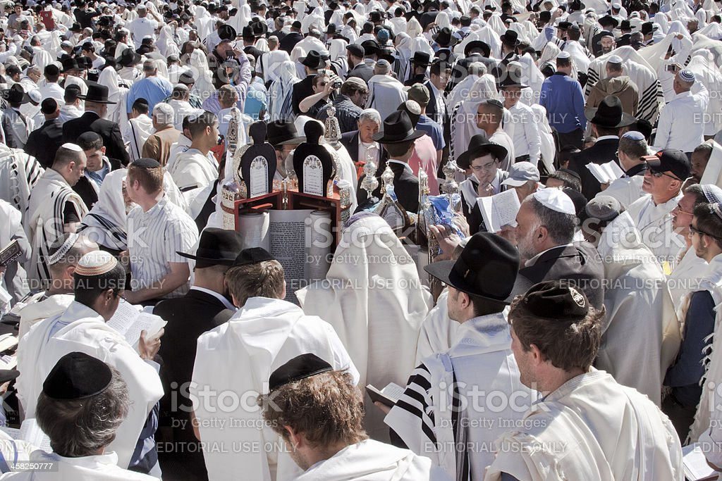 Orthodox Men at the western wall stock photo