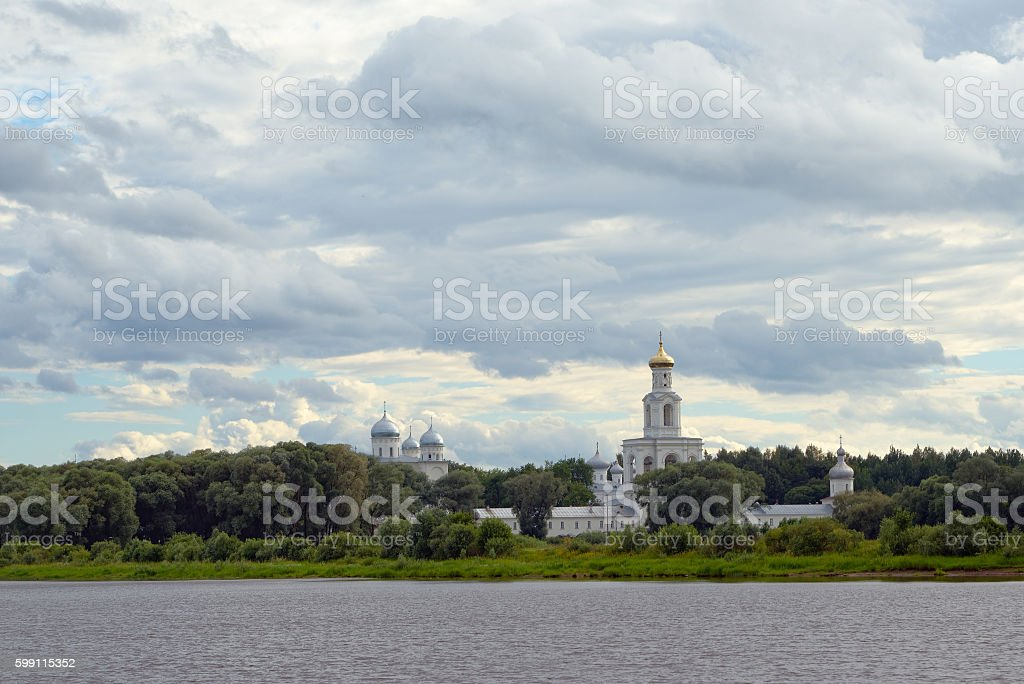 Orthodox monastery in the trees stock photo