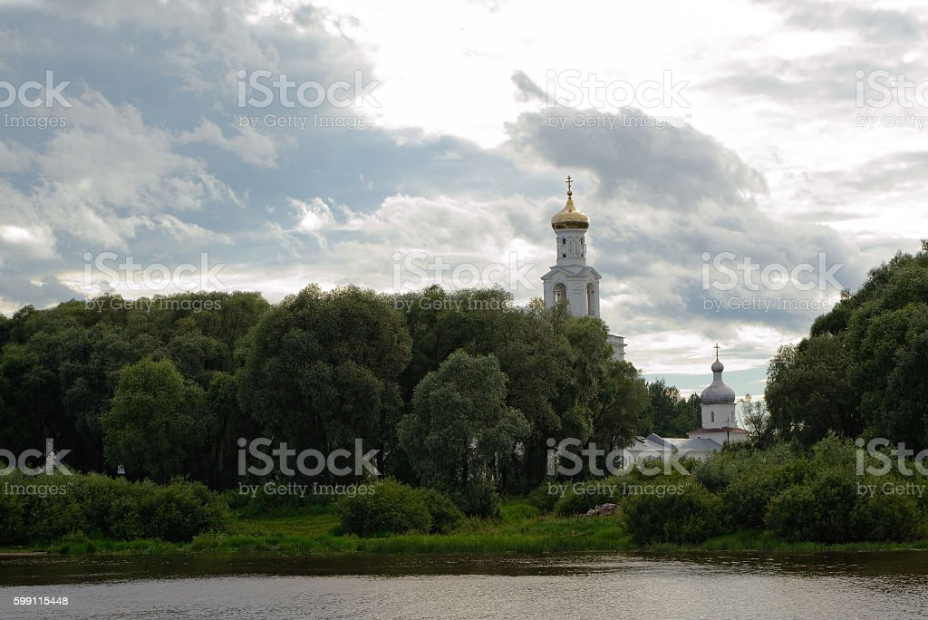 Orthodox monastery in the trees stock photo