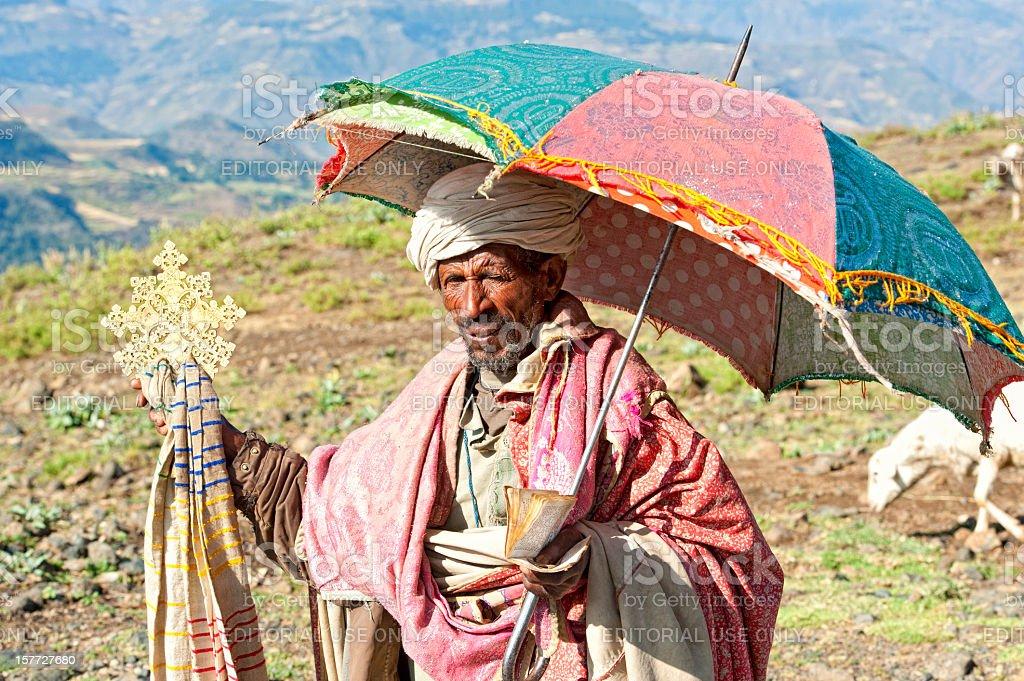 Orthodox Priest in Axum, Ethiopia stock photo