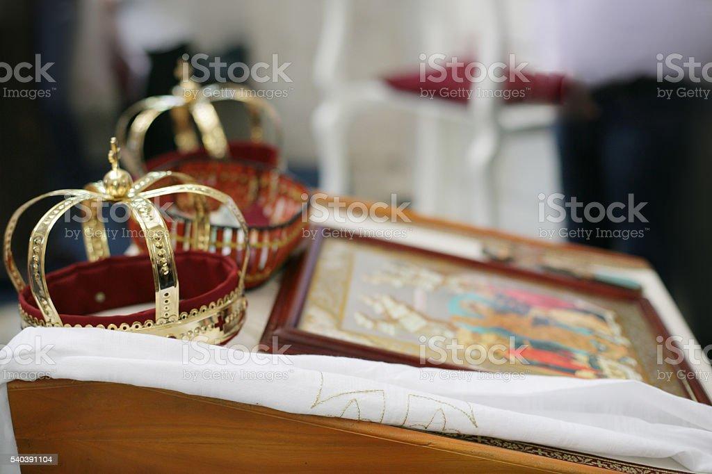 Orthodox Religious Crowns stock photo