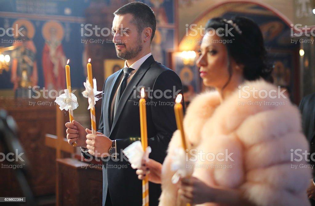 Orthodox wedding ceremony stock photo