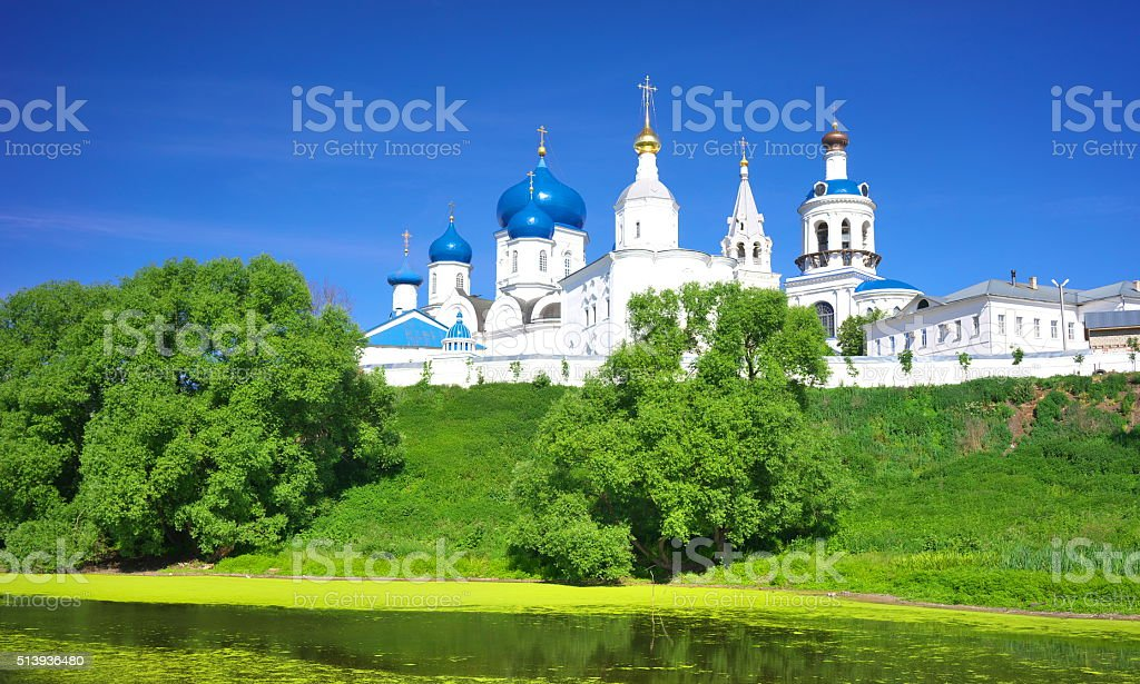 Orthodoxy monastery at Bogolyubovo in summer day. Russia stock photo