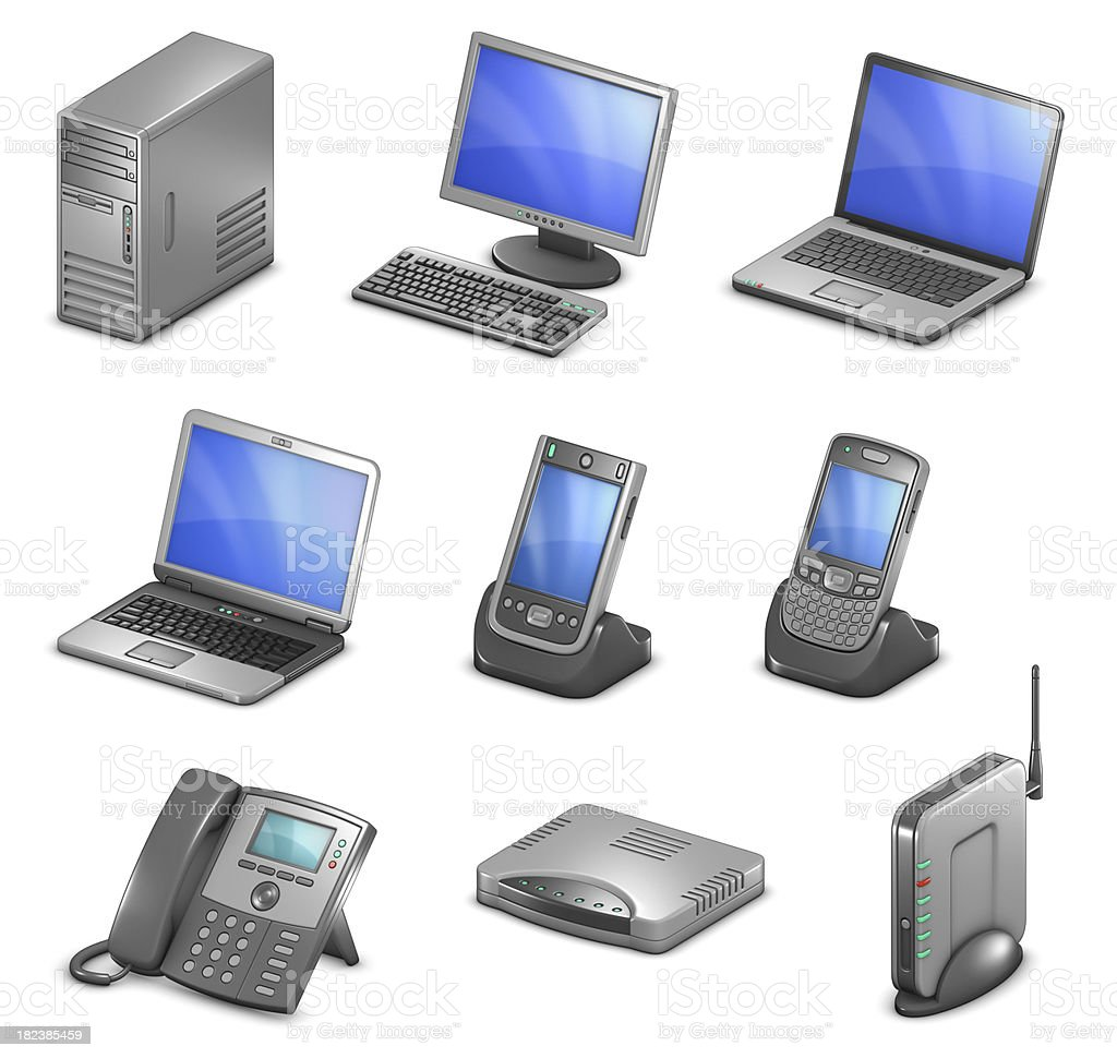 Orthographic Computing Diagram Icons royalty-free stock photo