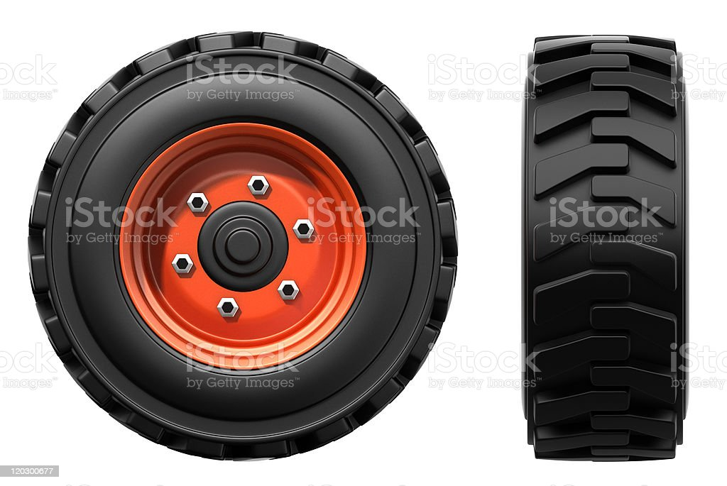 Orthographic illustration of truck tires on red wheels stock photo