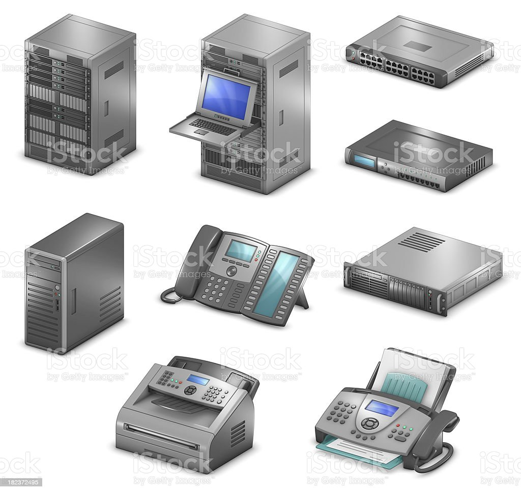 Orthographic Networking Diagram Icons stock photo