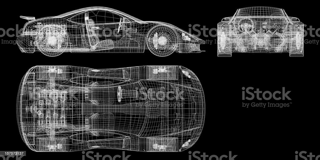 Orthographic Schematic of a Sports Car stock photo