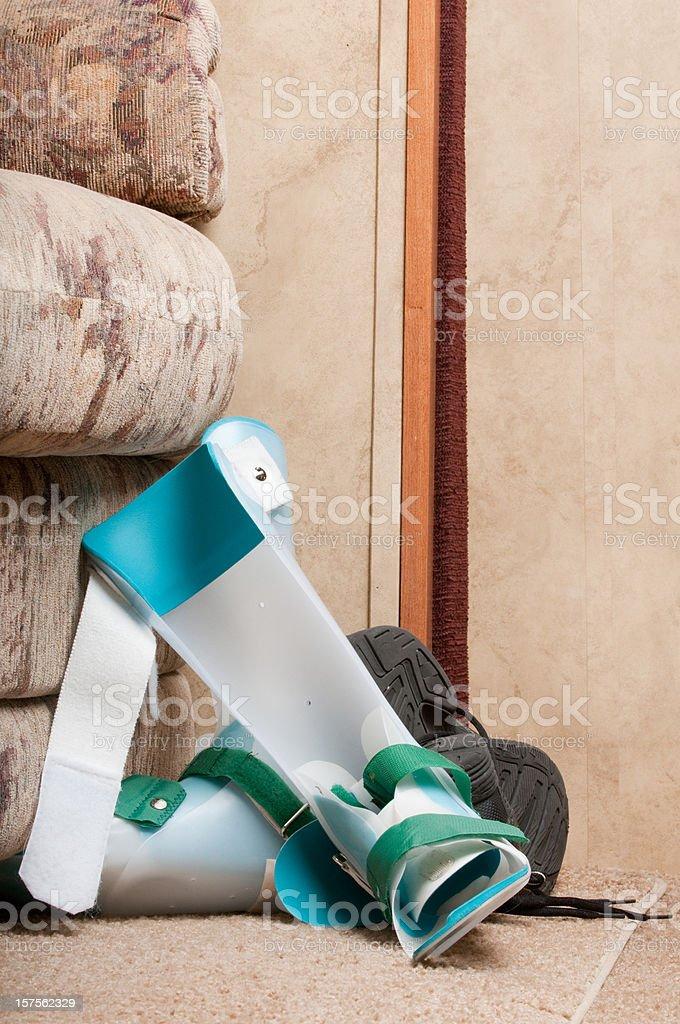 Orthotics on floor with shoe royalty-free stock photo