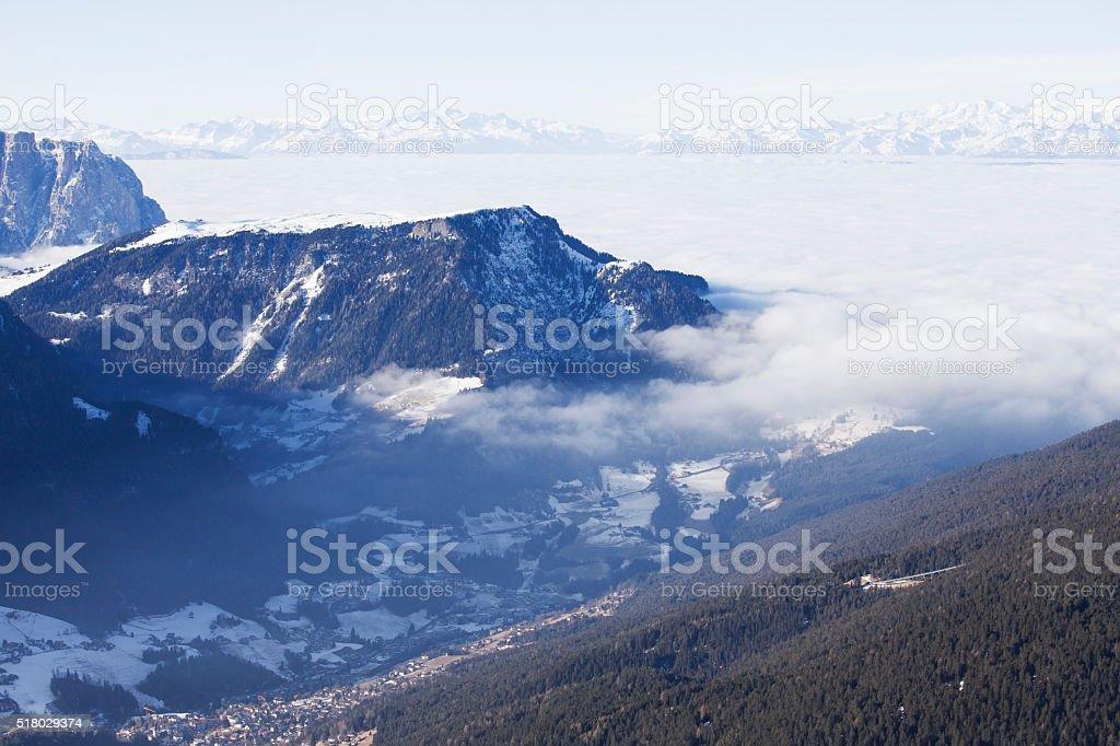Ortisei valley in Dolomiti Alps, Italy stock photo