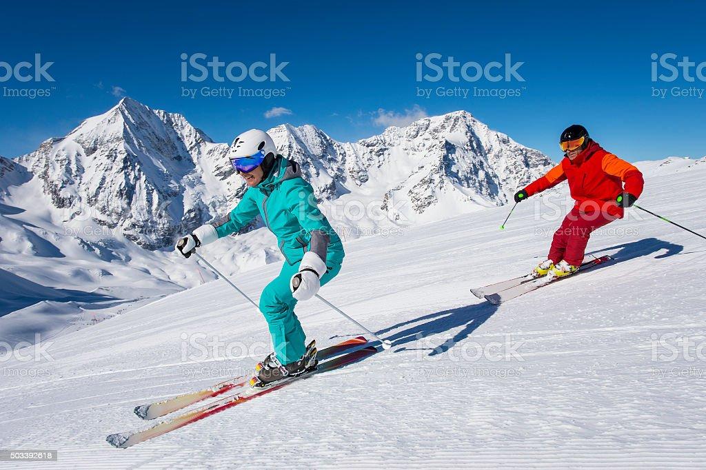 ortles ski arena - skiing in winterwonderland stock photo