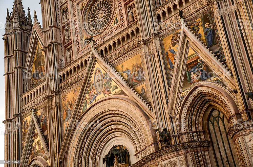 Orvieto Cathedral Front Angle Details stock photo