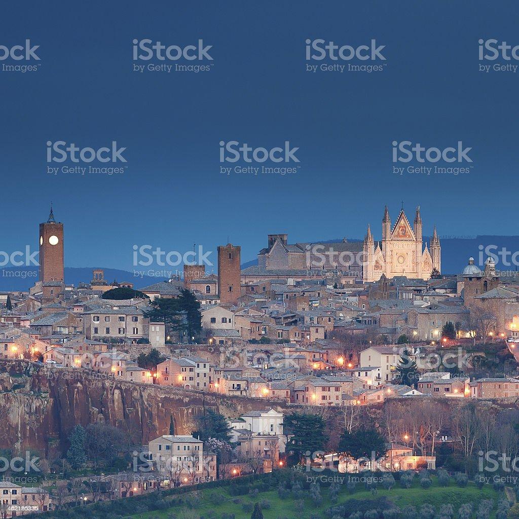 Orvieto in the night stock photo