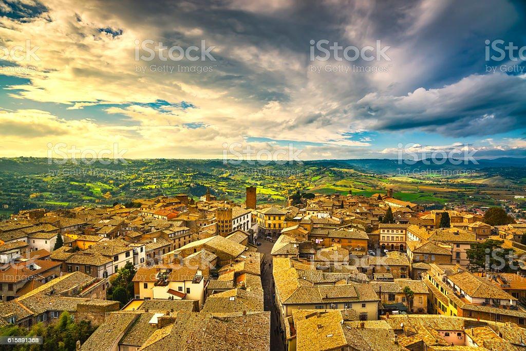 Orvieto medieval town aerial view. Italy stock photo