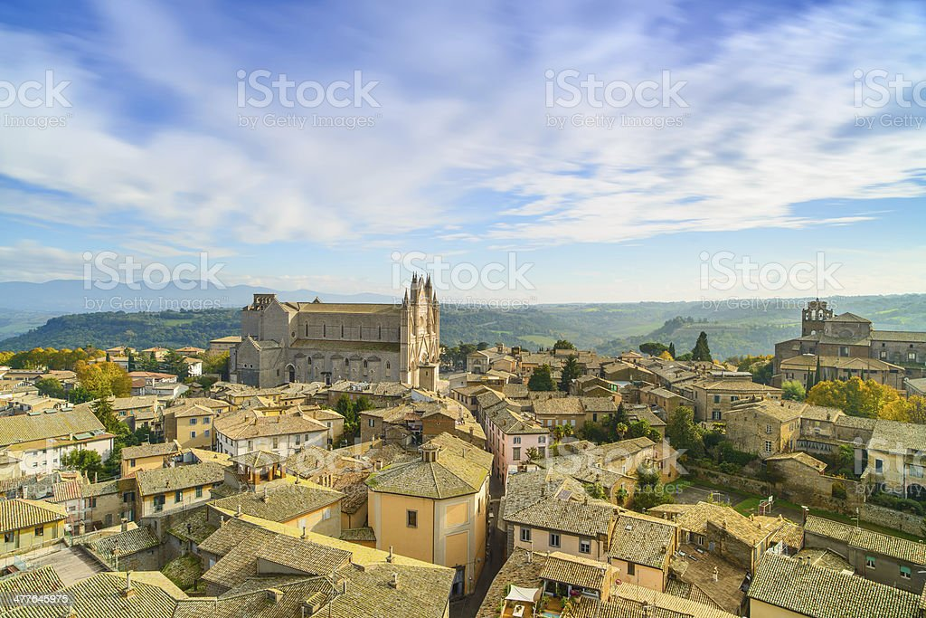 Orvieto medieval town and Duomo cathedral church aerial view. It stock photo