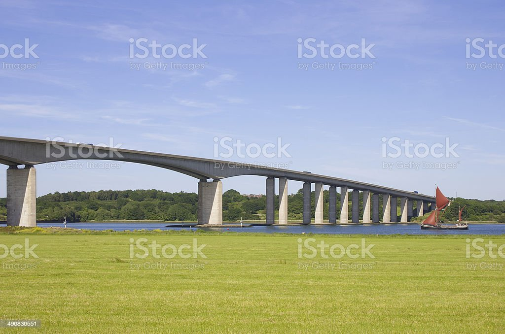 Orwell Bridge and Thames Barge stock photo