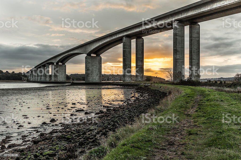 Orwell bridge Sunrise stock photo