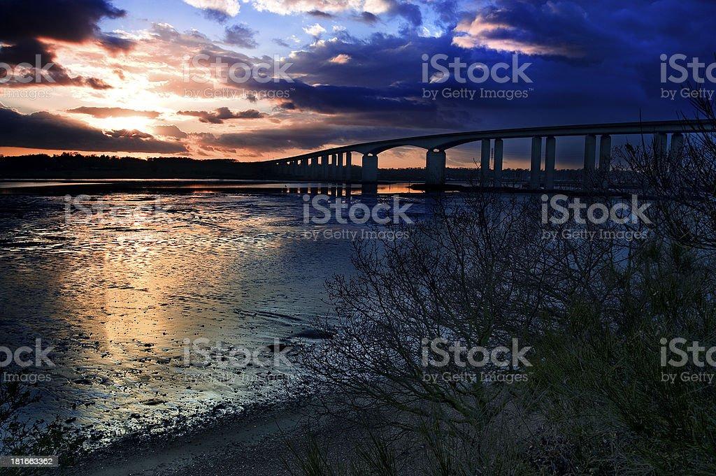 Orwell Bridge under a stormy sky stock photo
