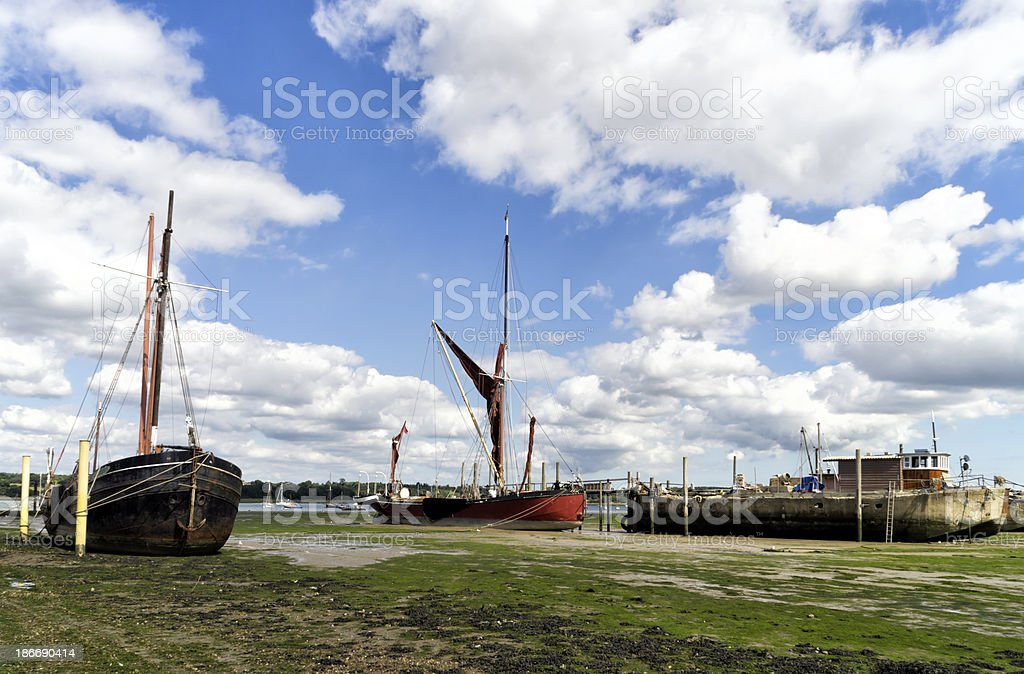 Orwell mud with stranded boats royalty-free stock photo
