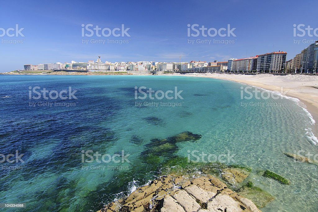 Orz?n beach in A Coru?a stock photo