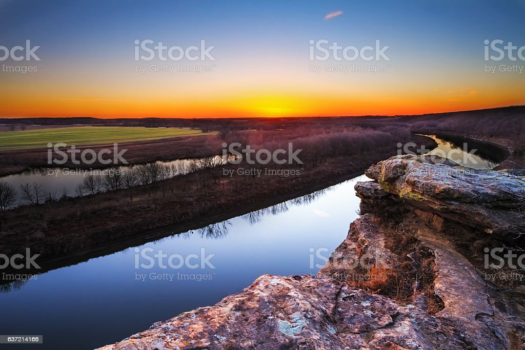 Osage River at Twilight stock photo