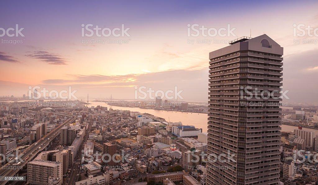 osaha harbour sunset stock photo