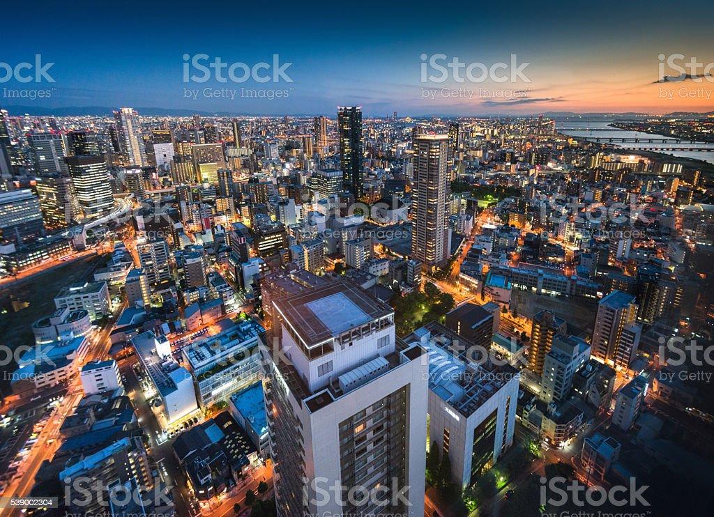 osaka aerial view on the night stock photo