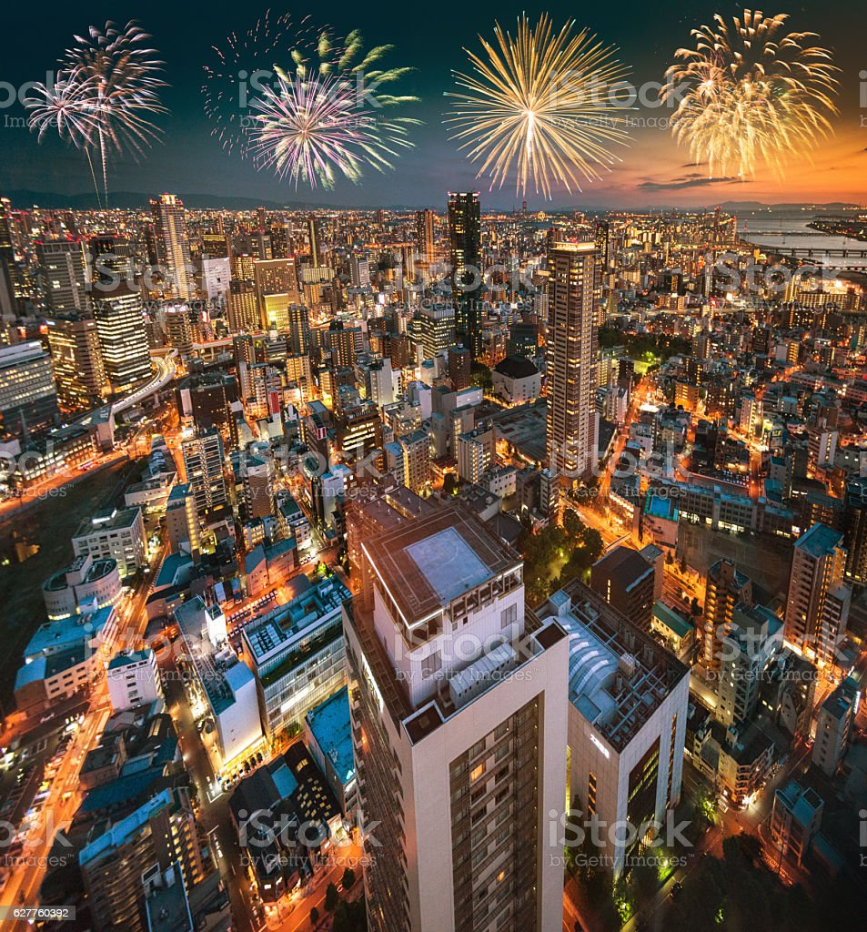 osaka aerial view on the night stock photo
