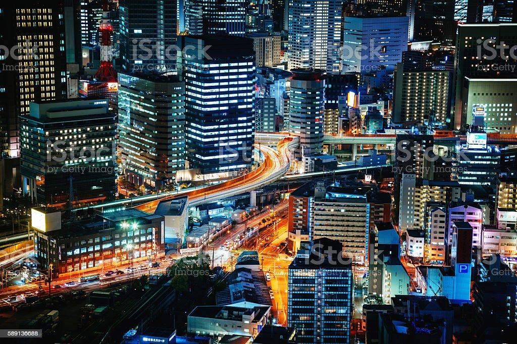 Osaka at night stock photo