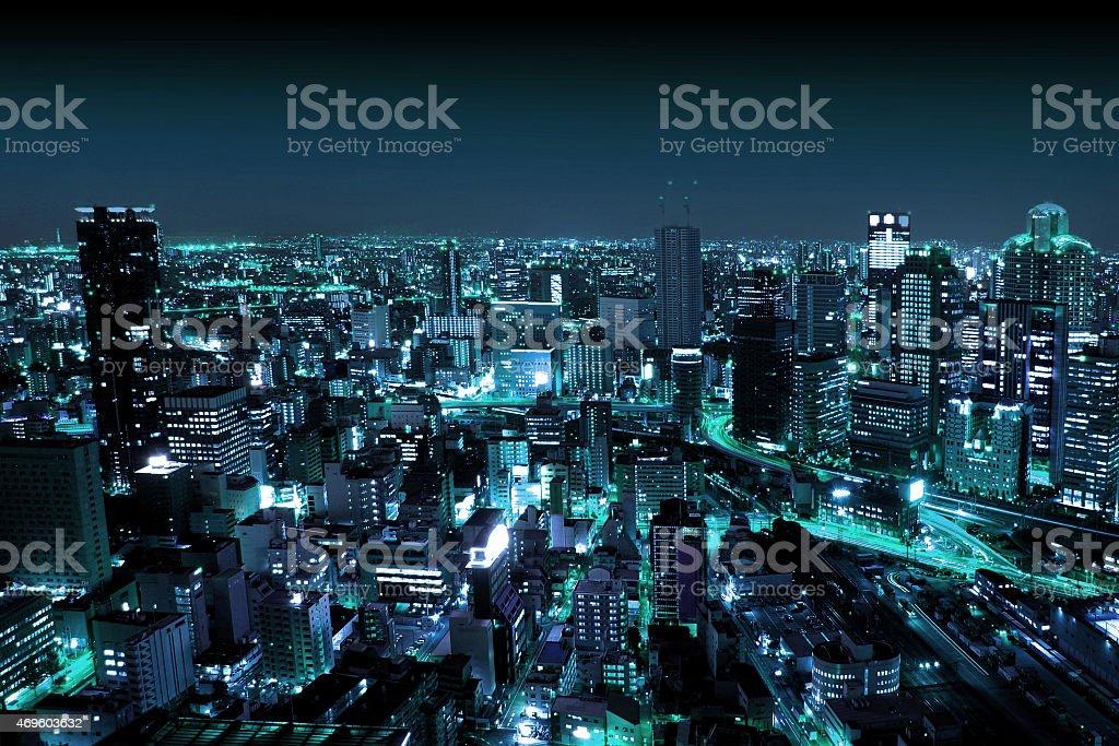 Osaka by Night, Japan stock photo