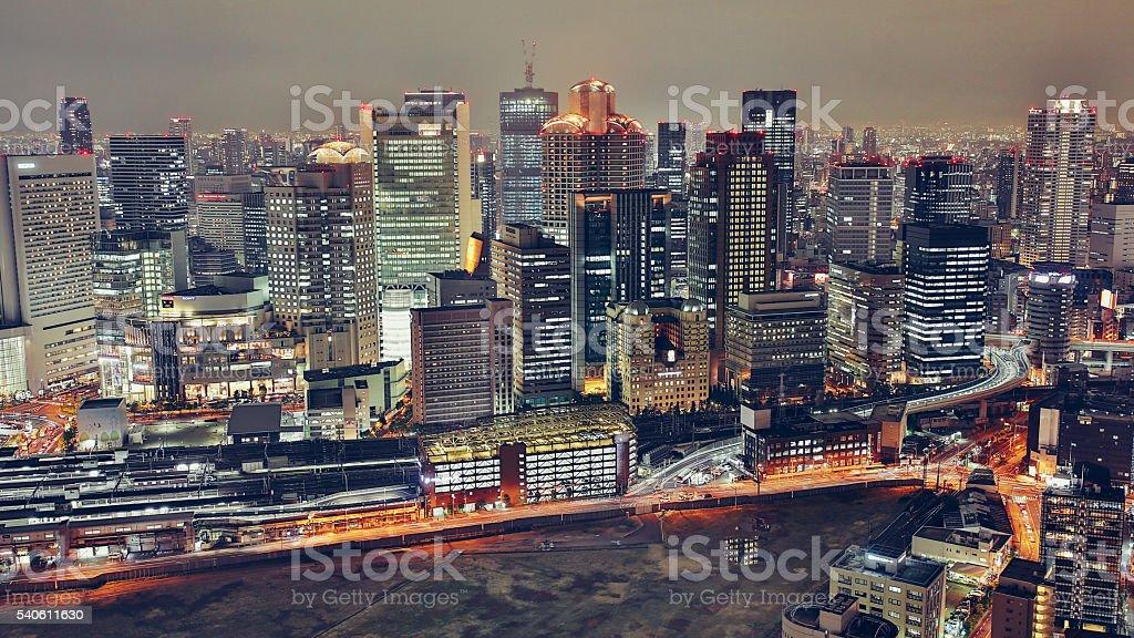 Osaka cityscape at night stock photo